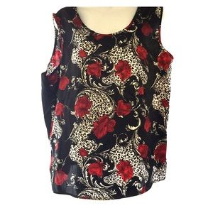 Tops - Black sleeveless top red roses